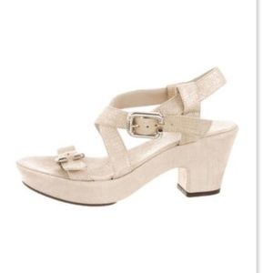 AGL Light Gold Suede Chunky Heel Sandal